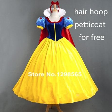 Free Shipping Custom-made Belle Costume Snow White Princess Dress Cosplay Costume Christmas Costume