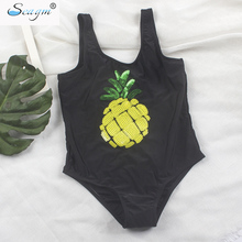 Seagm children swimwear for girls brazilian infantil kids swimsuits one piece girls swimwear gold Sequins pineapple swimsuit 21