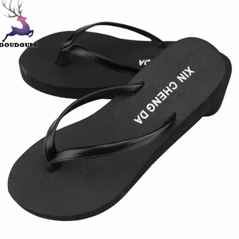 fe05417fa Casual Summer Girls Slippers Wedge Platform Flip Flops Women Shoes Beach Sandals  Slippers Summer Shoes Woman