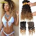 Класс 8А Бразильские Ombre Наращивание Волос Глубокий Кудри 3 Расслоения С Закрытие Deep Вьющиеся Бразильские Человеческие Волосы Пучки С Закрытием