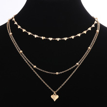 New Fashion Love Heart Choker Chain Necklace Charms Women Beads Tassel Multilayer Clavicle Jewelry