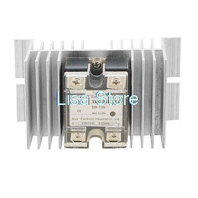 DC/AC 3-32VDC 24-480VAC Solid State Relay SSR 75A SSR-75DA + Heat Sink dc to ac solid state relay ssr 40a 3 32vdc 90 480vac w aluminum heat sink