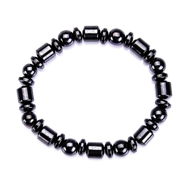 黒クール磁気痩身ブレスレットビーズヘマタイトストーンセラピーヘルスケアマグネットビーズブレスレット減量製品 Z3
