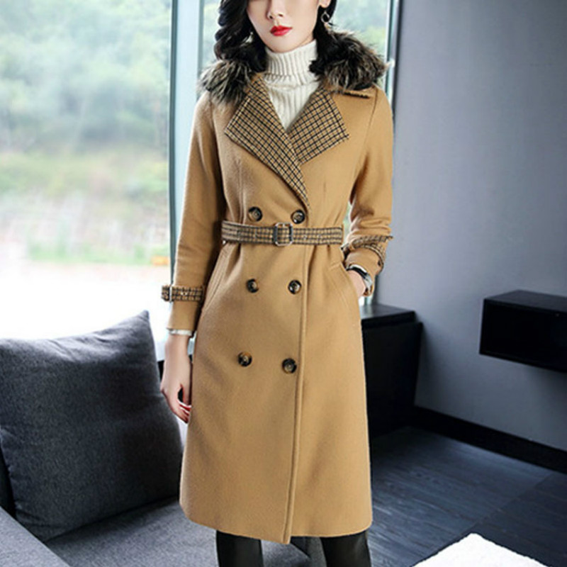 Top quality fashion classic woman coat long-sleeved woman woolen coat S-XL free shipping winter coat lady houndstooth jacket woman coat 90