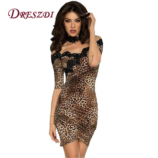 b522ae0d0e Sexy Vintage Lace Embroidery Women Bodycon Synthetic Leather PU Dress Half  Sleeve Leopard Print Club Dress Cocktail Party Wear