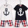 Boy Plaid short pants anchor style children T -shirts kids short sleeves new fashion boys shorts clothing set