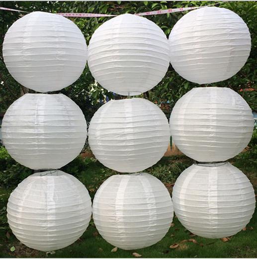 Màu trắng Của Trung Quốc Giấy Đèn Lồng 10/15/20/25/30/35/40 cm cho đám cưới Tổ Chức Sự Kiện Đảng Trang Trí Khách Sạn Holiday Nguồn Cung Cấp Giấy Bóng