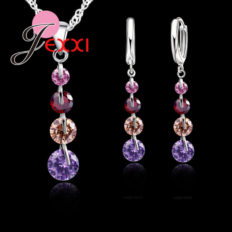 New Romantic Real 925 Sterling Silver Shiny Drop Crystals Chain Crystal Pendant Jewelry Set For Women Wedding Jewelry Set