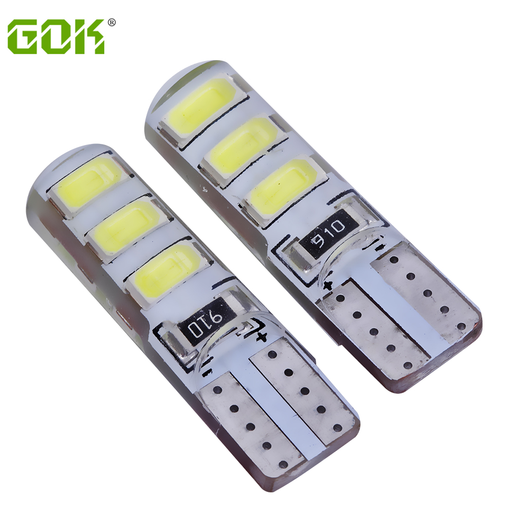 New 10Pcs Car led light T10 6smd 5730 crystal lamp canbus parking t10 silicone w5w 194 6Led Bulb external light reading bulb car led 1pcs t10 194 w5w dc 12v canbus 6smd 5050 silicone shell led lights bulb no error led parking fog light auto car styling