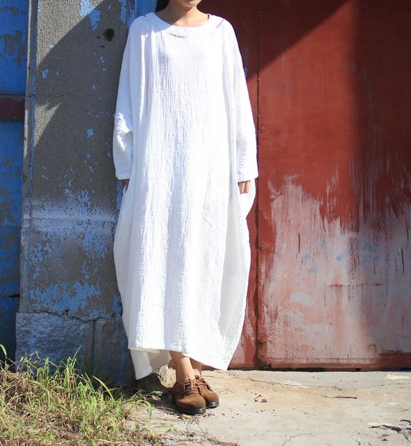 d7a4a037cd Più grande formato Batwing Del Cotone Lino Donne Oversize Zen stile Solido  Robe Longue Femme Abiti Abito Allentato Casuale Maxi vestito