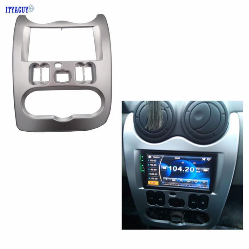 Car Styling Double Din Car Radio Fascia for Renault Logan Adapter CD Trim Clips Panel Plate Fascia Frame In Dash Mount Kit