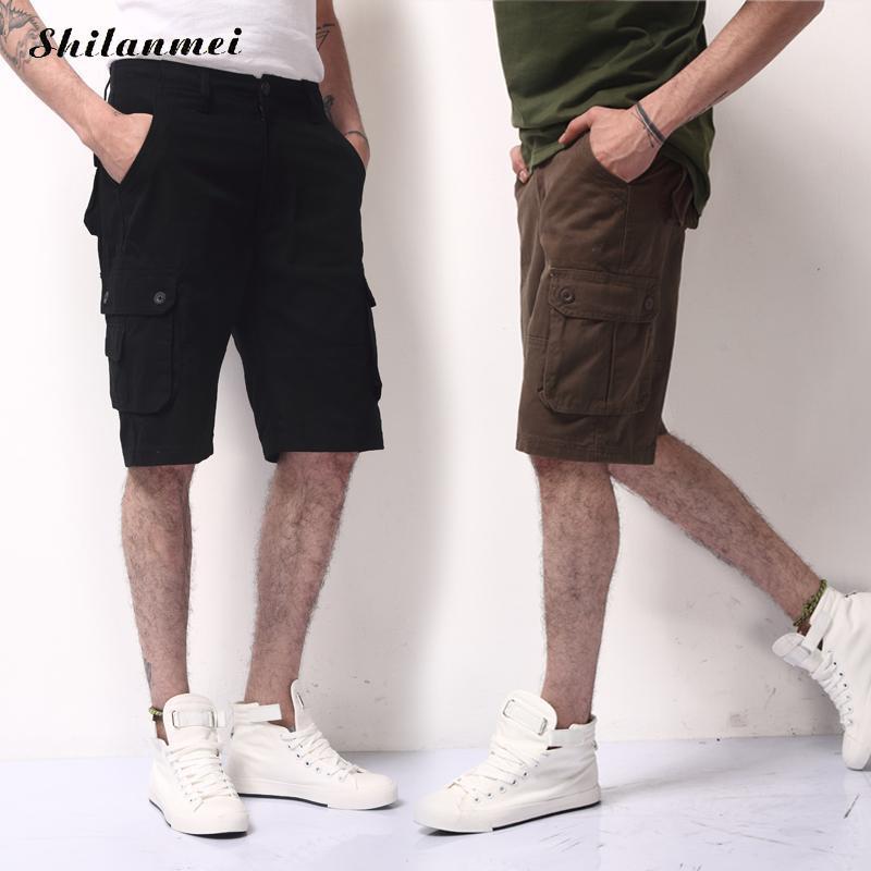 New Fashion 2018 Men Cargo Shorts Cotton Casual Loose Short Pants Tactical Summer Style Knee Length Work Short Pants 5 Colors