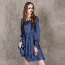 Famous brand Europe and the United States spring summer new loose waist ladies denim  Vintage lace long-sleeved dress women womens spring off the shoulder dresses 2018 europe and united states brand autumn female print dress casual ladies long dress