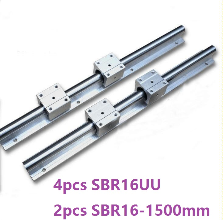 2pcs SBR16 16mm -L 1500mm support rail linear guide + 4pcs SBR16UU linear blocks beairng CNC router linear rail precise linear guide rail 1500mm aluminum linear guide rail