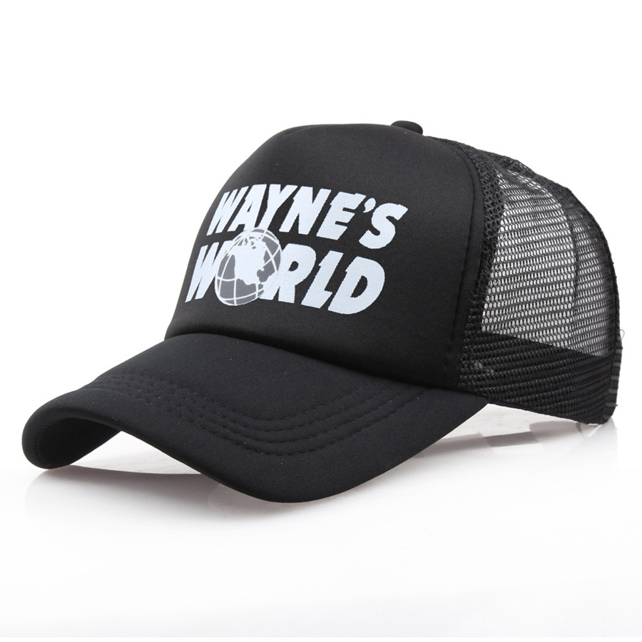 Wholesale Black Waynes World   Baseball     Caps   Unisex Hip Hop Hat Sunhat Wayne's World Hat Costume Mesh Hats Trucker Dad
