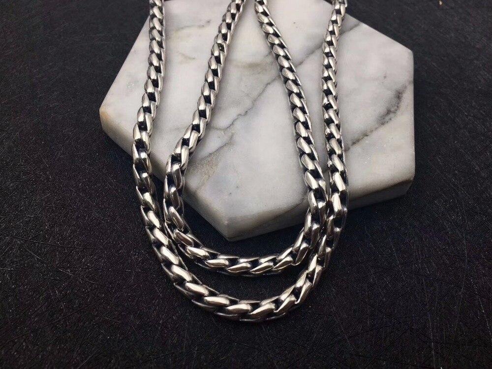 Solide argent 925 audacieux lien chaîne collier pour hommes 5mm épais Chunky collier Simple Style 100% 925 Sterling argent hommes bijoux - 4