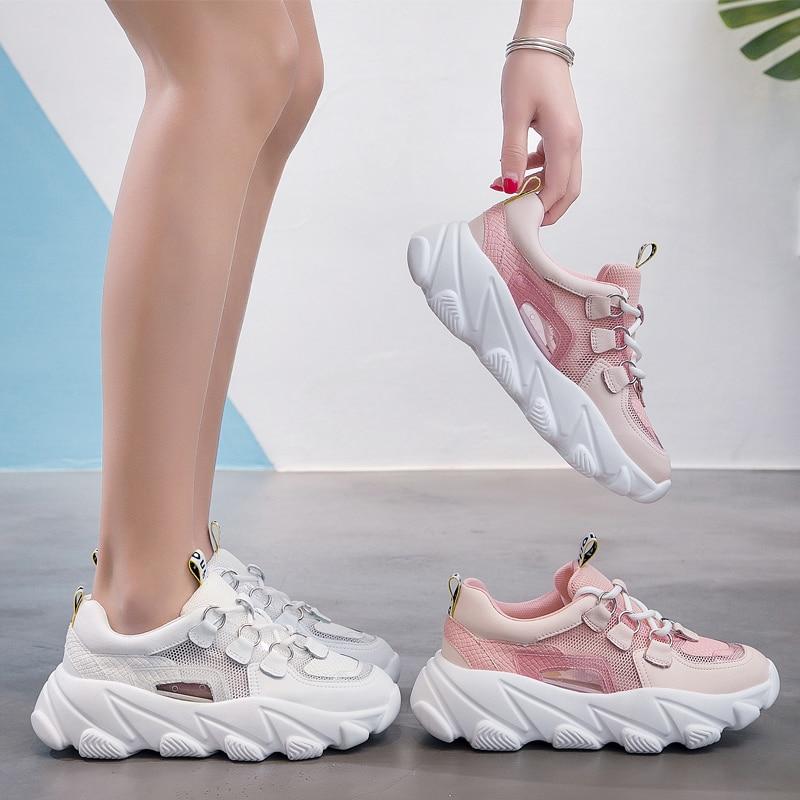 2019 nouvelles baskets blanches femmes chaussures en cuir véritable dames plates-formes chaussures plates respirant Air Mesh décontracté Shose automne