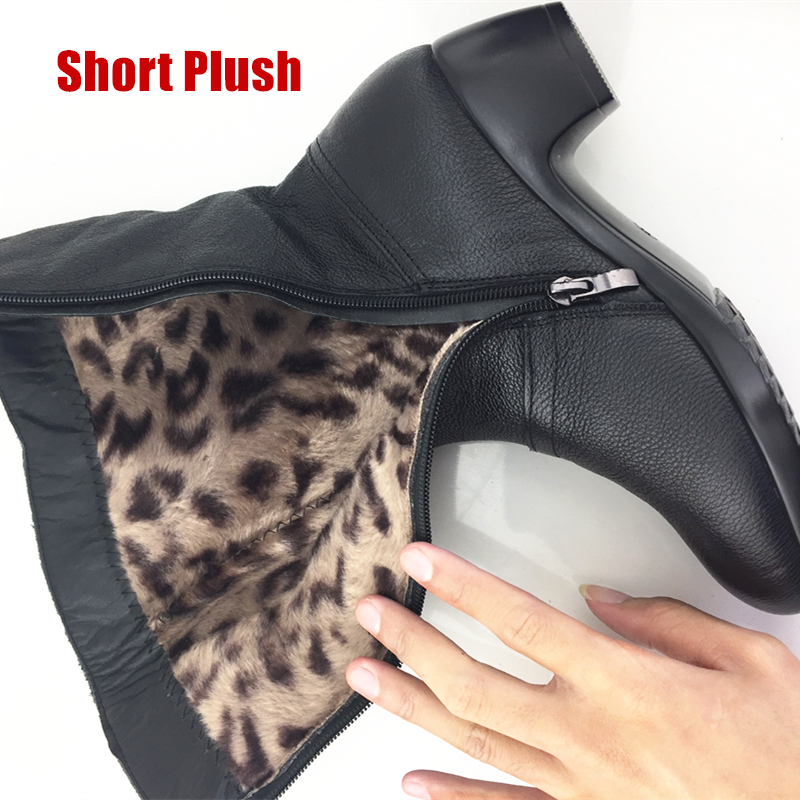 DONGNANFENG Women 39 s Mother Female woman Ladies Shoes Boots Botas Heels Knee High Bling Black Zipper Winter Autumn Warm Plush Fur Cow Genuine Leather Mid Calf Round Toe Casual Designers Plus Size 35 43 JFML 5222 in Mid Calf Boots from Shoes