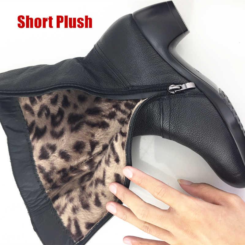 Dongnanfeng mãe feminina mulher senhoras sapatos botas botas de salto alto bling zíper preto inverno outono quente pelúcia pele de vaca couro genuíno meados de bezerro dedo do pé redondo designers casuais mais tamanho 35-43 JFML-5222