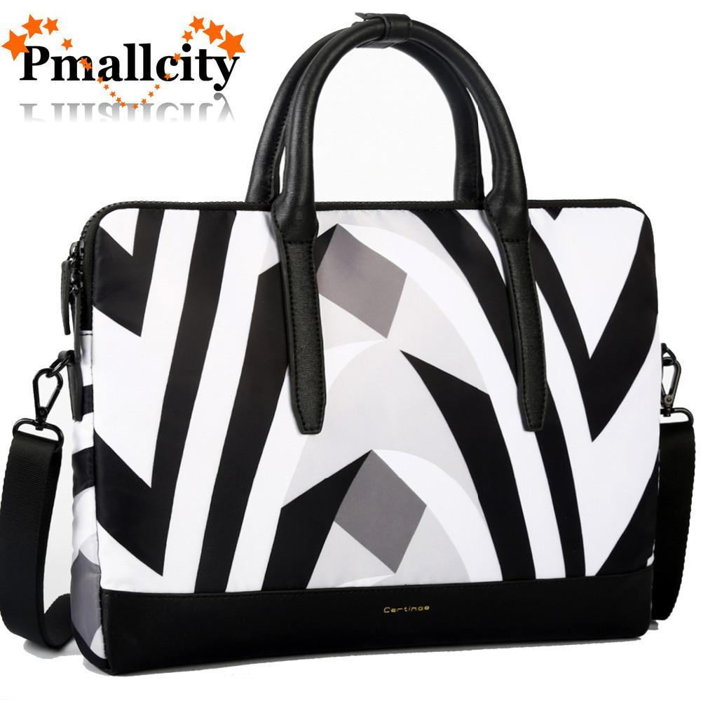 Women 13.3 Inch Laptop Tote Bag Notebook Shoulder Bag Lightweight Multi-pocket Zebra Business Work Office Briefcase for Computer