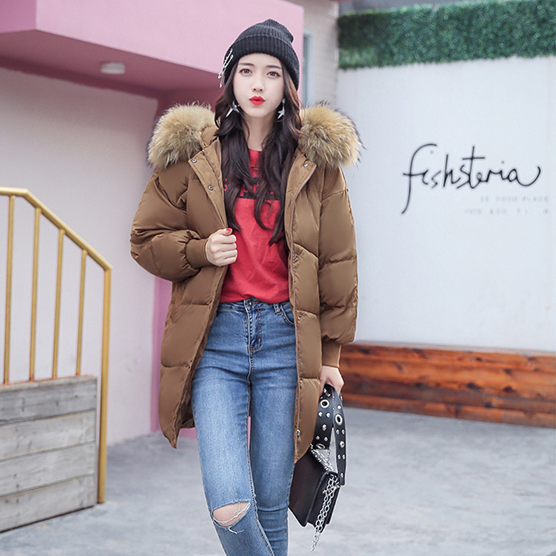 Thick Winter Jacket Women 2017 New Raccoon Fur Collar Warm Female Parkas Jackets Down Cotton Hooded Loose Coat Outwear BL07 women winter coat leisure big yards hooded fur collar jacket thick warm cotton parkas new style female students overcoat ok238