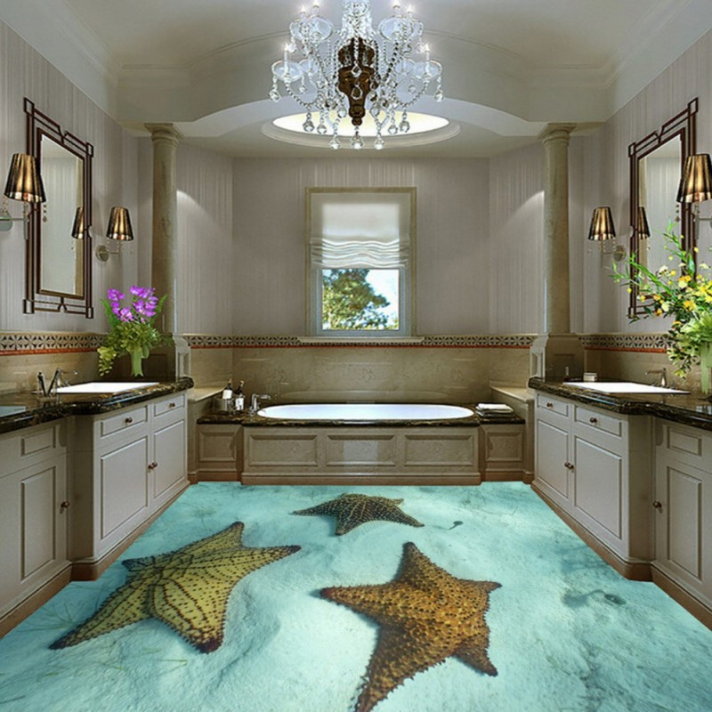 Free Shipping Custom 3D stereo light blue starfish floor painting background wall living room bedroom flooring mural wallpaper free shipping basketball function restaurant background wall waterproof high quality stereo bedroom living room mural wallpaper