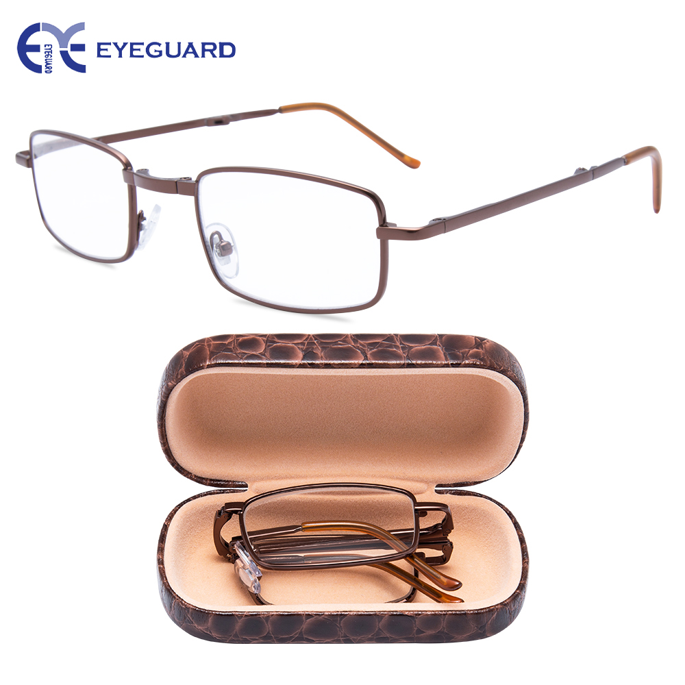 EYEGUARD Metal Foldable Reading Glasses Folding Readers Fold Classic Style full Frame with Hard Case Brown Unisex Portable Mini