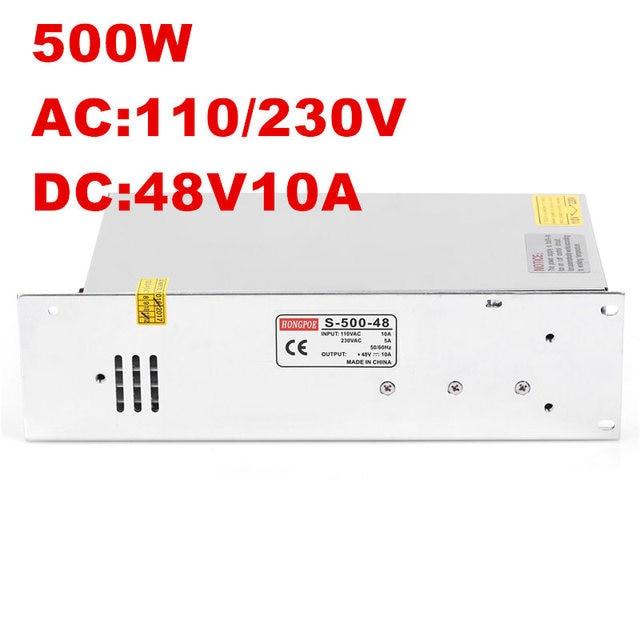 1PCS Best quality 500W 10A 48V Power Supply 48V Driver for LED Strip100-240V AC-DC 48V10A S-500-48