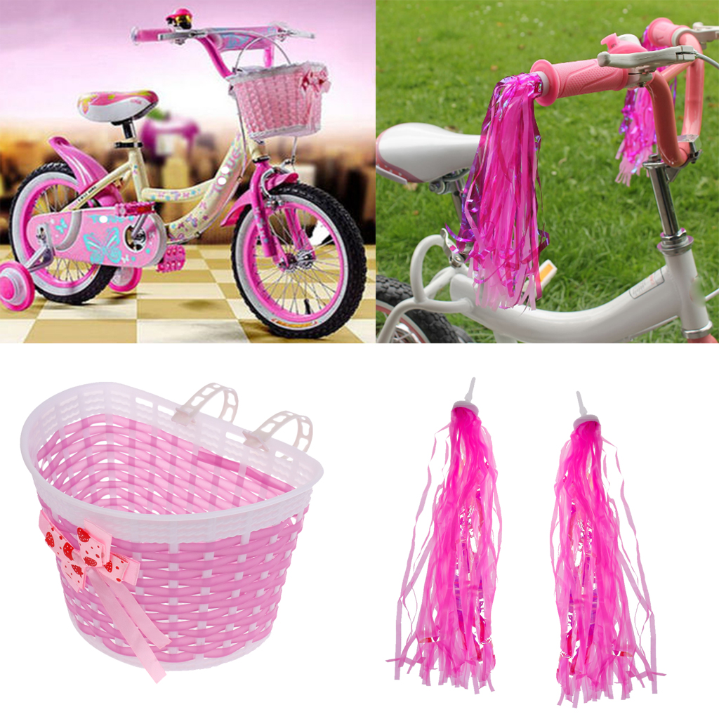 Girls <font><b>Bike</b></font> Front Basket Shopping Holder <font><b>Case</b></font> +2 Pcs Bicycle Scooter Handlebar Grip Tassels Pink Cycling Parts Child image