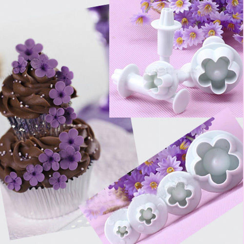 Hot Sale 4Pcs Plum Flower Plunger Fondant Mold Cutter Sugarcraft Cake Tools Decorating Christmas Cake Decorating Tools