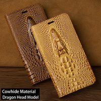 Luxury Dragon Head Flip Case For Xiaomi 5 5S 6 Max 2 Mix 2S A1 A2 Case Genuine Leather Soft inner For Redmi Note 4 4X 5 5A Plus