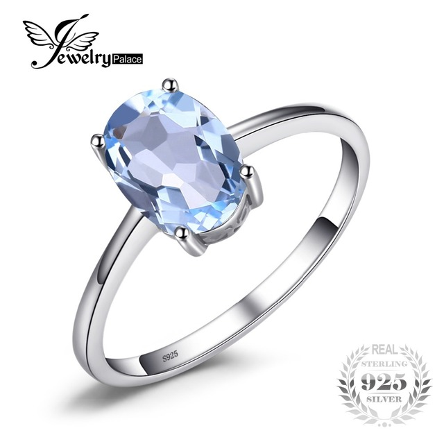 JewelryPalace Oval 1.5ct Natural Sky Blue Topaz Birthstone Solitaire Ring Solid 925 Sterling Silver Fine Jewelry For Women