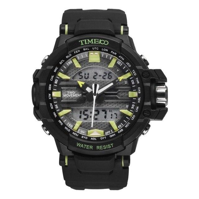 TIME100 Men's LCD Dual-time Analog-Digital Display Black Rubber Strap Quartz Digital Military Wrist Watches Relojes electronicos