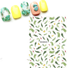 Newest MGM-525-02 green leaves nail sticker 3d Japan Korea style decal rhinestones decorations for art design