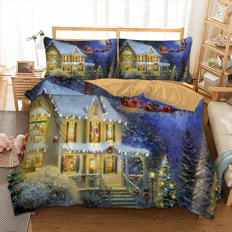 Xmas Bedding Set Twin Full Queen King AU Single UK Double Size Happy Night Bedclothes 3D Duvet Cover Pillow Cases Christmas