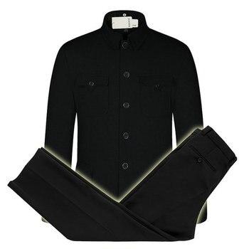 Chinese Men Tunic Suit Set Man Classical Mao Suit Blazer 2PCS Pant Set Men Zhongshan Tunic Blazer and Trousers Suit Set Oriental