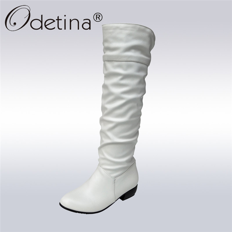 Odetina 2017 New Fashion Womens Flat Slouch Boots Pleated Knee High Long Boots Low Heel Warm Winter Shoes Casual Big Size 35-43