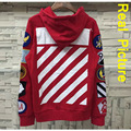 OFF WHITE Hoodie Men Women 1:1 High Quality Striped Printing Offwhite Sweatshirts Homme Same as Justin Bieber Red White Pullover