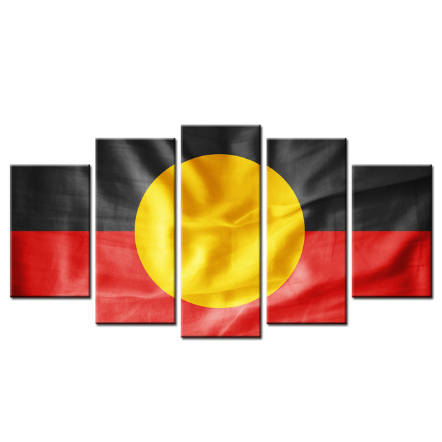 5 Pieces Australian Aboriginal Flag Painting For Living Room Wall
