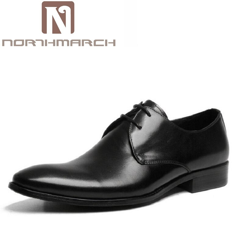 NORTHMARCH Mens Shoes Luxury Brand Designer Genuine Leather Lace Up Black Formal Dress Wedding Derby Shoes Zapatos Hombre недорого
