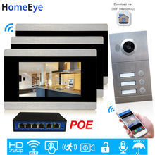 3-Apartments Door Access Control System 720P 7'' WiFi IP Video Door Phone Smart Video Intercom POE iOS/Android APP Remote Unlock apartment wired video door phone audio visual intercom entry system 6 unit