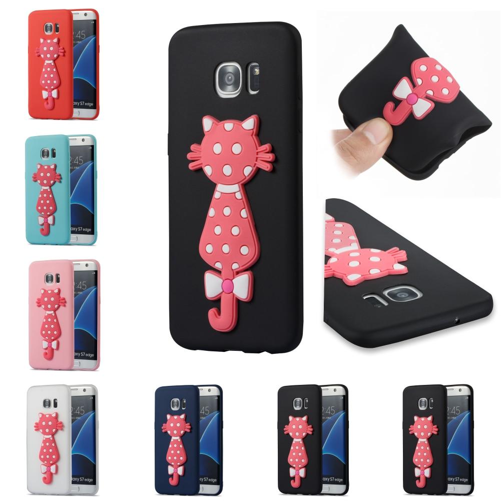 Silicone Cartoon 3D Cat Cute Phone Case Cover Cubierta Kryty Shell Bag For Samsug Sumsung Samsung Galax Galaxy S7 Edge SM G935F