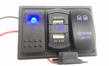 цена на Blue Led Rocker Switch Panel DC 12-24V Dual USB Car Charger with Voltmeter Reverse Light   Rocker Switch