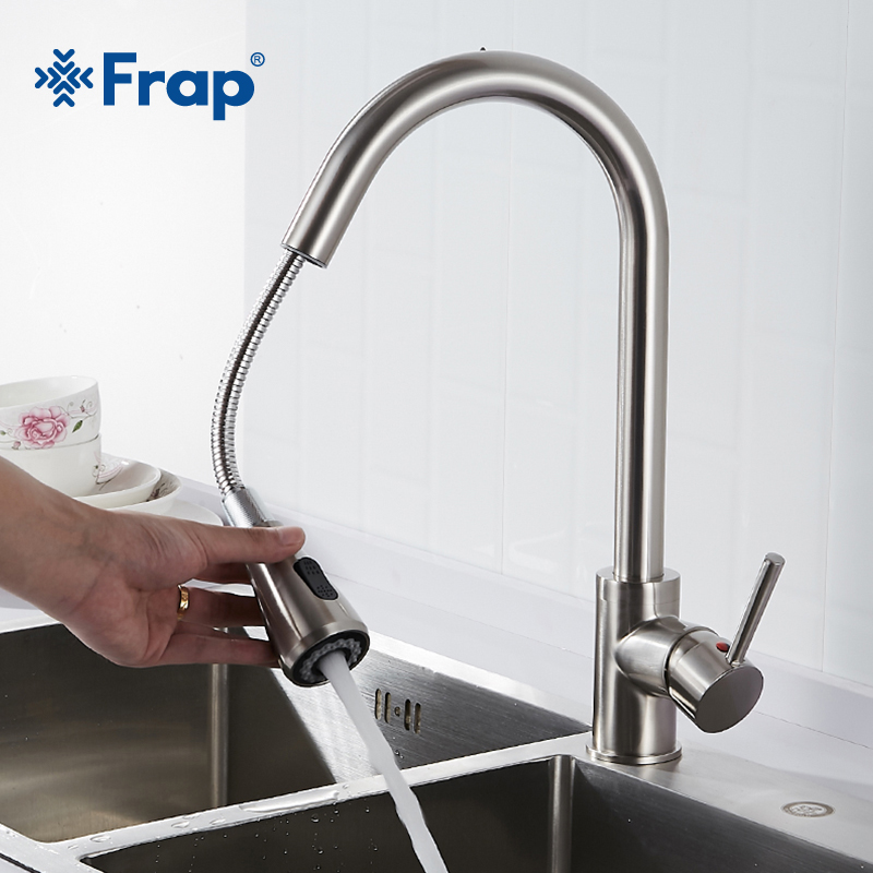 Us 6638 45 Offfrap Hotcold Kitchen Faucet Brass Single Handle Basin Faucets Sprayer Jetsoft Flow Water Switch Two Ways Water Outlet Y40079 In