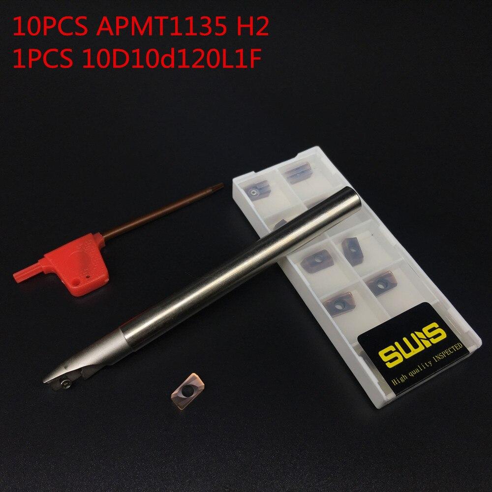 10PCS APMT1135 H2 + 1PCS 10mm BAP300R C10-10-120L-1F Fréza čelní frézy čelní fréza Hrubovací práce P M K