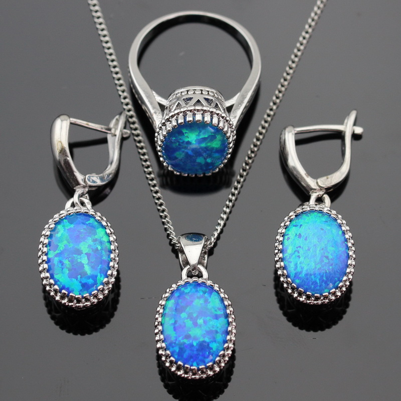 Round Fire Blue Opal Stones Silver Color Jewelry Sets For Women Necklace Pendant Drop Earrings