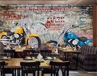 Custom Mural 3d Photo Wallpaper American Graffiti Motorcycle Bar Decoration Painting 3d Wall Murals Wallpaper For