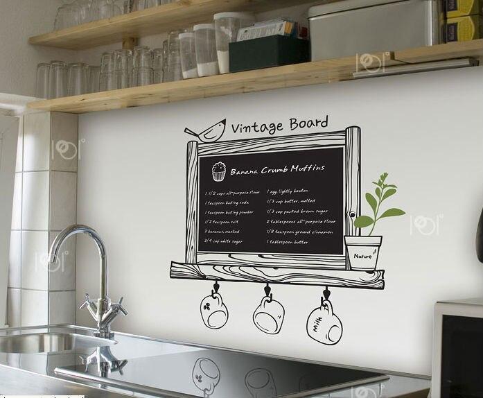 Free Shipping Modern Romance Kitchen Chalkboard Decal Blackboard Removable Waterproof Vinyl Wall Art Sticker Kitchen Wall
