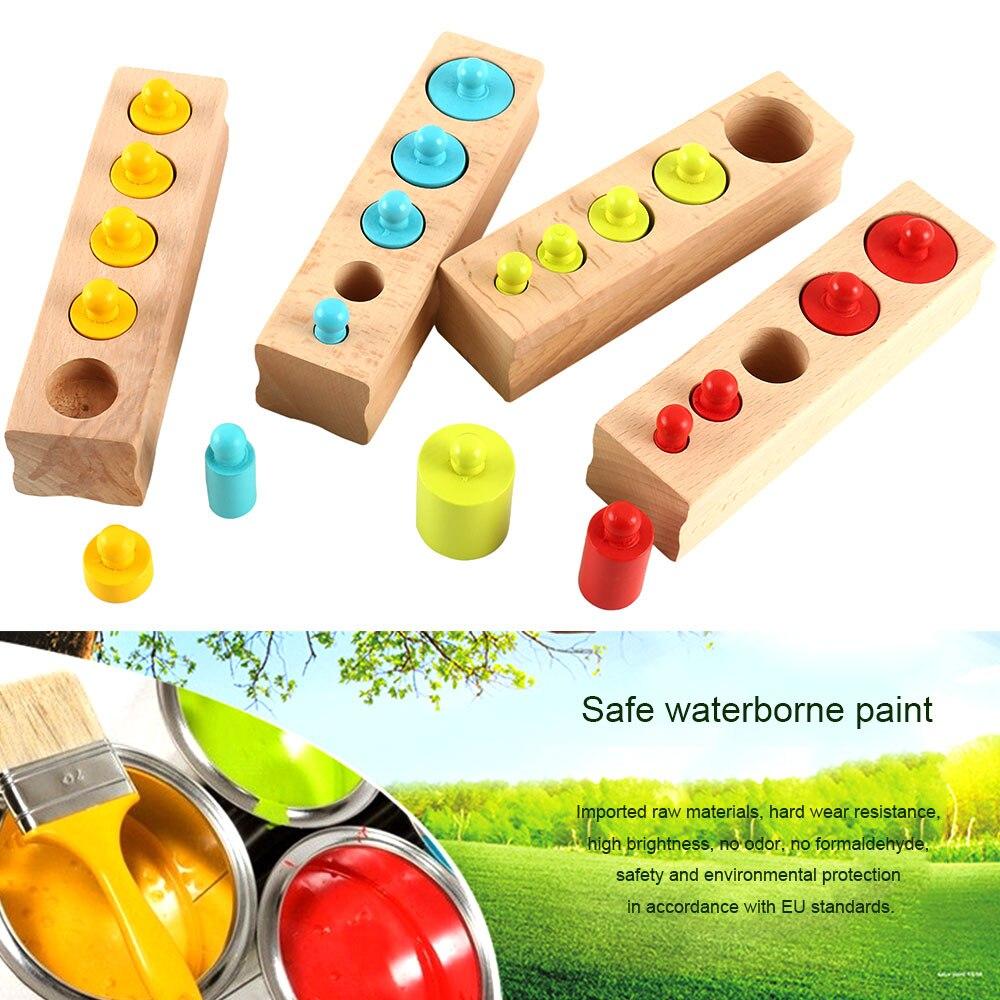 Montessori Pädagogisches Holz Spielzeug Blöcke Zylinder Buchse Für Kinder Speelgoed Nizza Geschenk Für Vorschule Früh Lernen