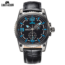 Liber Aedon Black Leather Sport Men Watches Top Brand Luxury Wrist Watch Fashion Casual Quartz Men's Watches Relogio Masculino